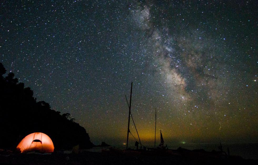 Night on a island in Greece