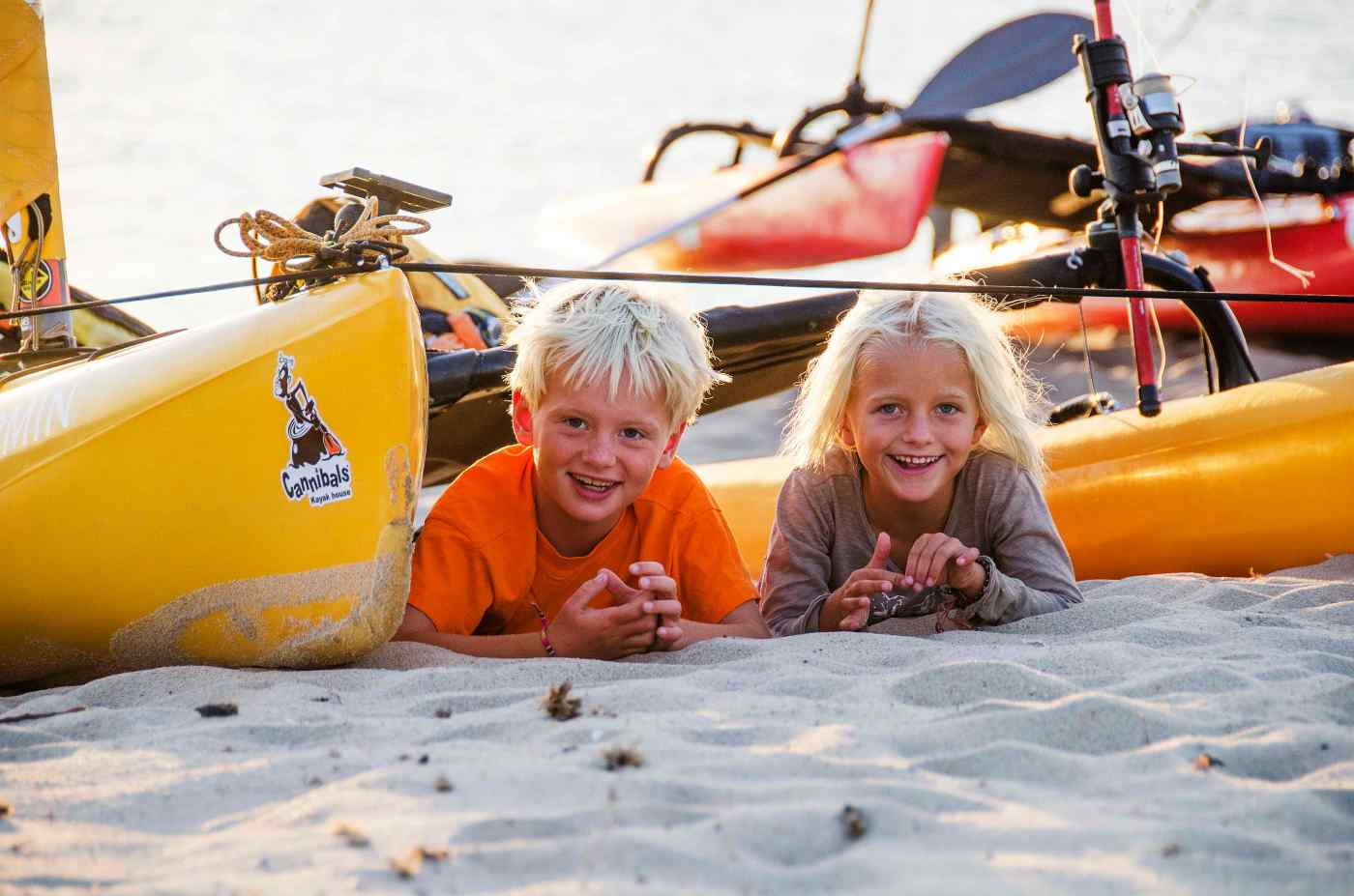 Playing around the kayaks